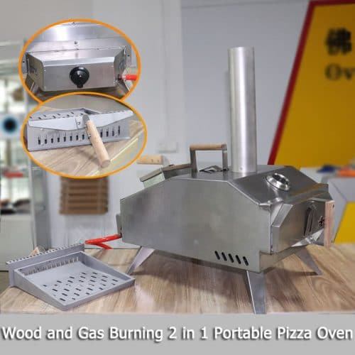 Wood and Gas Burning 2 in 1 Portable Pizza Oven