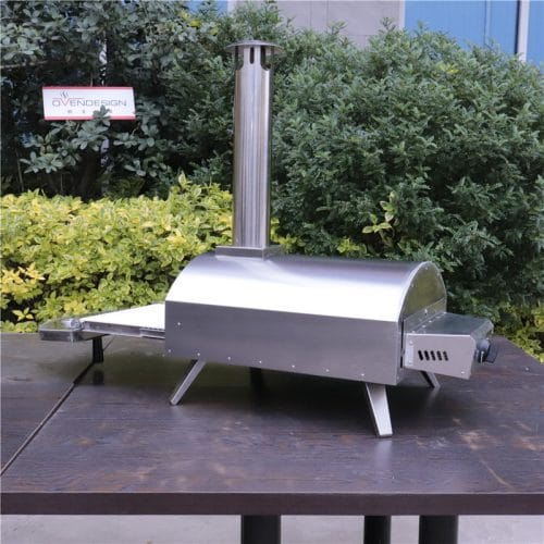 Portable gas powered pizza oven with pull-out drawer